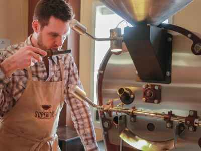 Roasting a fresh batch of beans for our Sailors Sunrise Blend